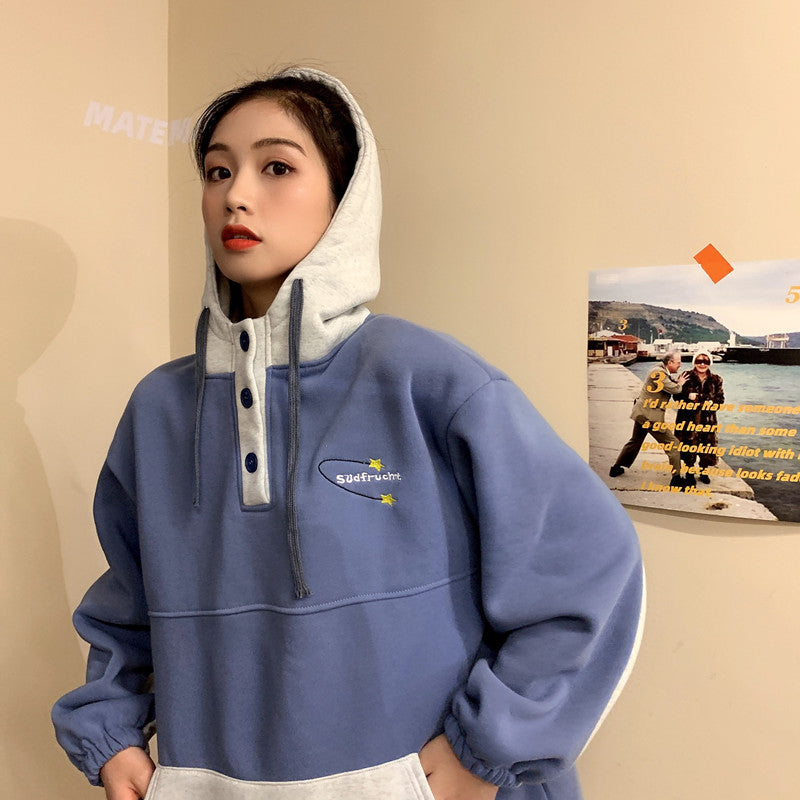 Loose Big Pocket Button Style Hooded Style