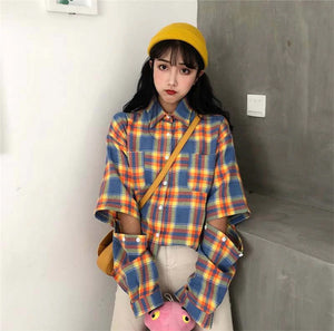 Spliced Sleeves Plaid Shirt