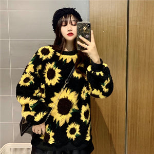 Sunflowers Pattern Oversized Sweater