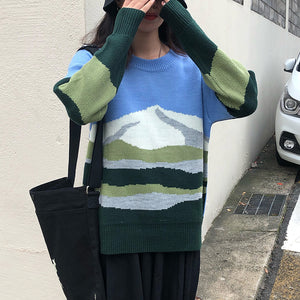 Fuji Mount View Loose Knitted Sweater