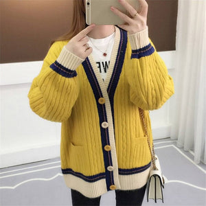Knitted Cardigan Contrast Color V-Neck