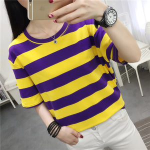 Yellow and Purple Striped O Neck Loose Shirt