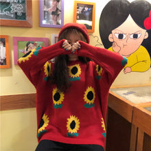 Sunflower Pattern Knitted Sweater