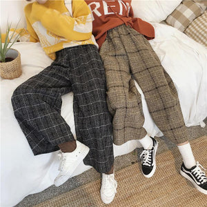 High Waist Ankle Length Wide Leg Plaid Pants