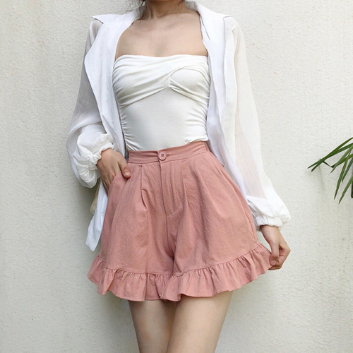High Waist Elastic Ruffles Shorts