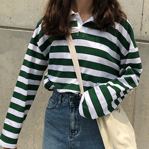 Loose Casual Vintage Striped Turn Down Collar