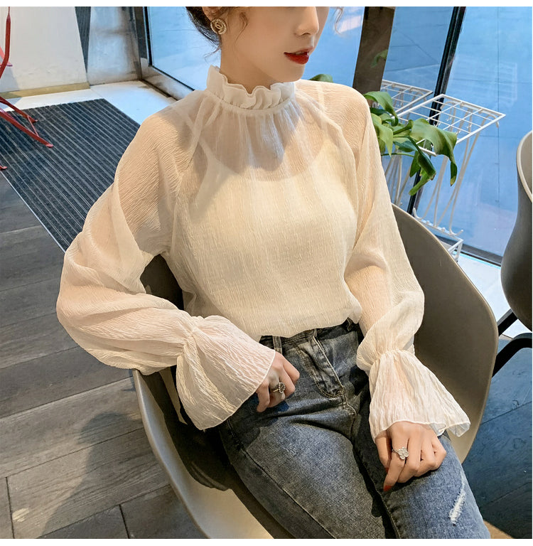 Loose Bell Sleeve Chiffon Transparent Shirt