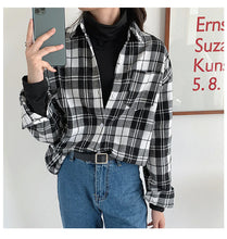 Vintage Classic Plaid Style Turn Down Collar Shirt
