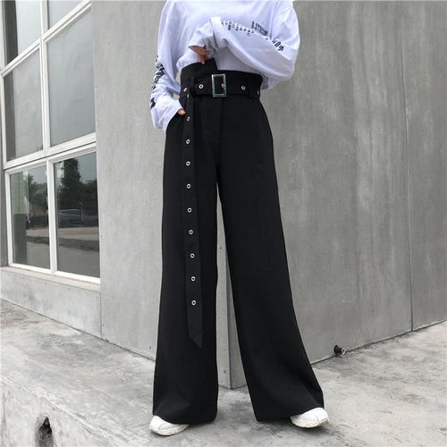 Loose Wide Leg Long Belted Pants