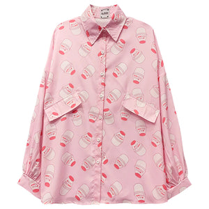 Strawberry Milk Bottle Pattern Printed Long Sleeve Shirt