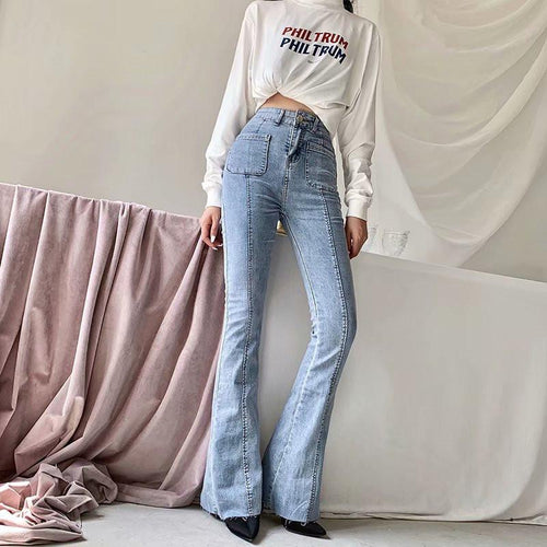 High Waist Stretch Wide Leg Jeans