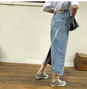 Slim Cut Long Denim Skirt Jeans