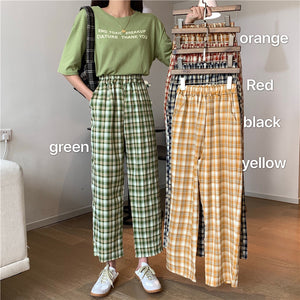 High Waist Colorful Plaid Pants