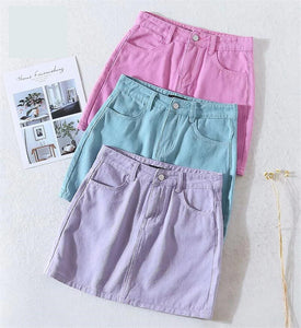 High Waist Pastel Color Denim Skirt