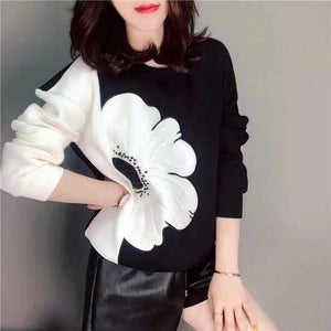 Flower Side Printed Sweater