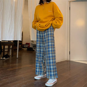 High Waist Wide Leg Plaid Pants