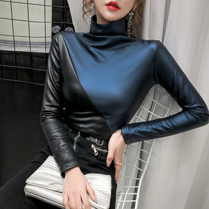 Half Color Long Sleeve Turtleneck Leather Tops