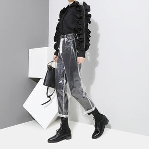 Sexy Transparent Color Ankle Length Pants