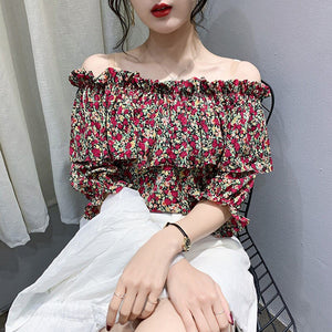 Off Shoulder Slash Neck Flowers Ruffles Shirt