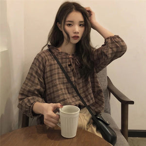 Plaid Belted Neck Loose Shirt