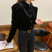 Velvet Basic Button Long Sleeve Blouse Shirt