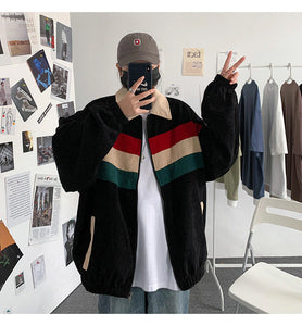 Striped Color Corduroy Bomber Jacket