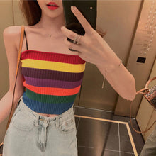 Rainbow Striped Straps Camis Knitted Tank Top