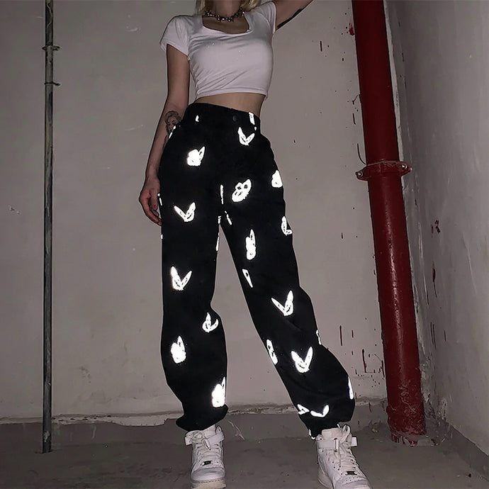 Butterfly Reflective Printed Jogger Pants