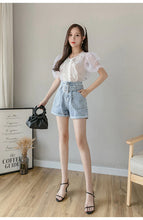 Pearl Belt Wide Leg Denim Shorts Jeans