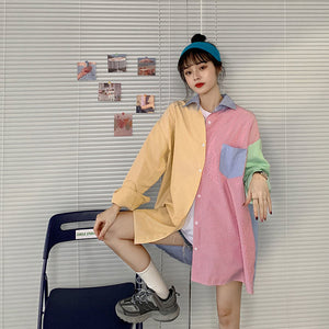 Colorful Striped Oversize Long Sleeve Shirt