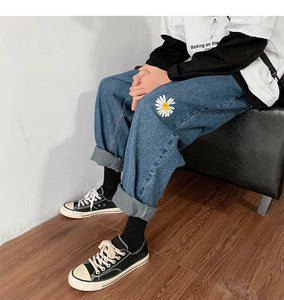 Daisy Embroidered Jeans Pants