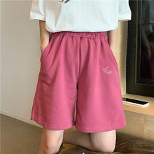 Moon Embroidered Casual Basic Shorts