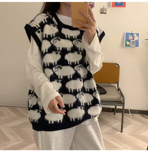 Cute Sheep Cartoon Pattern V-Neck Sleeveless Knitted Vest Sweater