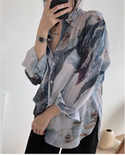 Painting Design Long Sleeve Blouse Shirt