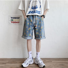 Sun Flower Pattern Denim Shorts Pants