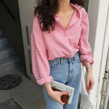 Pink Plaid Casual Blouse Long Sleeve Shirt