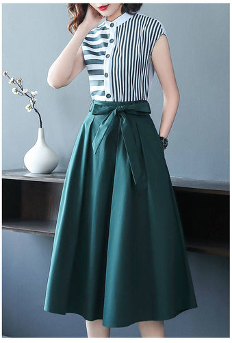 Two Piece Set Casual Striped Shirts Blouses and Bow Midi Skirt