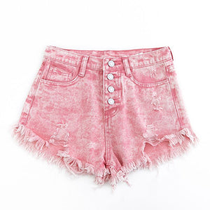 Frayed High Waist Pink Denim Shorts