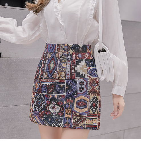 Boho Pattern Embroidered Woolen Mini Skirt