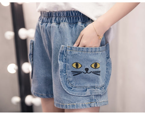 Kawaii Embroidery Cat Short Jeans