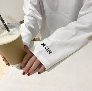 Letter Embroidered Simple Long Sleeve Shirt