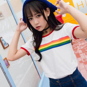 Rainbow Stripe Ringer Shirt