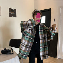 Korean Plaid Single Breasted Oversize Shirt