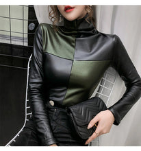 Color Block Long Sleeve Turtleneck Leather Tops