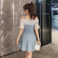 Ruffles Sexy Off Shoulder Denim Dress