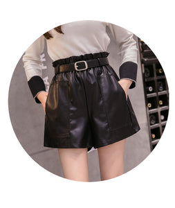Wide Leg Belted Leather Shorts