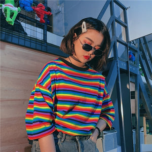 Casual Rainbow Striped Loose O Neck Shirt