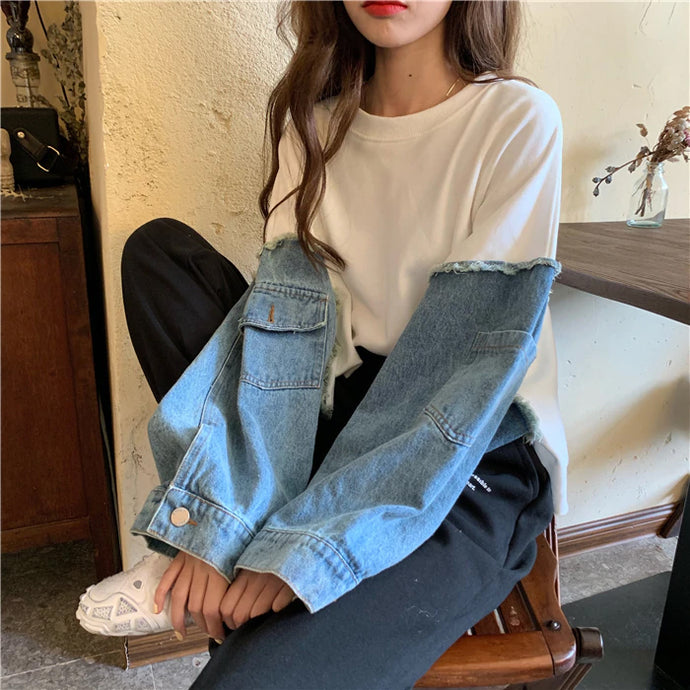 Denim Stitching Round Neck Vintage Sweatshirt