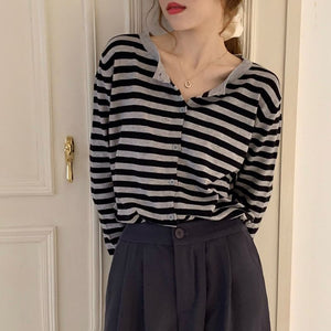Striped Knited Long Sleeve Casual Shirt