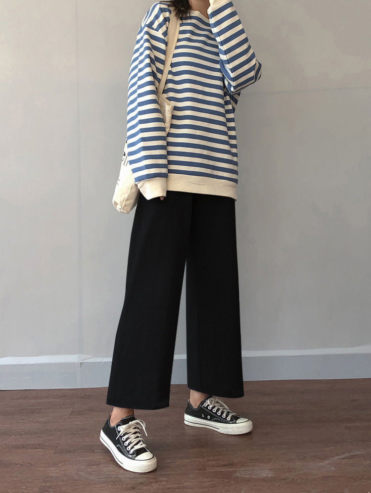 Ankle Length Loose Wide Leg Casual Pants